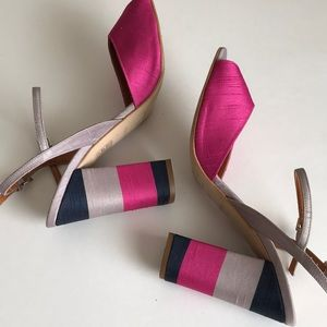 Topshop colorful satiny high blocky rounded heels